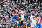 Atletico de Madrid's Diego Godín and Sevilla's Gabriel Mercado during La Liga match between Atletico de Madrid and Sevilla CF at Vicente Calderon Stadium in Madrid, Spain. March 19, 2017. (ALTERPHOTOS/BorjaB.Hojas)