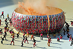 11 June 2010, South African performers make a replica of the Soccer city stadium during the opening ceremony of the 2010 Fifia World Cup at Soccer City in Johannesburg South Africa. South Africa face Mexico in the opening game. Picture: Shayne Robinson