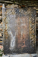 """Medieval door of the Georgian Orthodox St George Church """"JGRag"""" , Ushguli, Upper Svaneti, Samegrelo-Zemo Svaneti, Mestia, Georgia. At 2,200 m (7217 ft) above sea level in the Caucasus mountains St George Church is one of  the highest in Europe."""