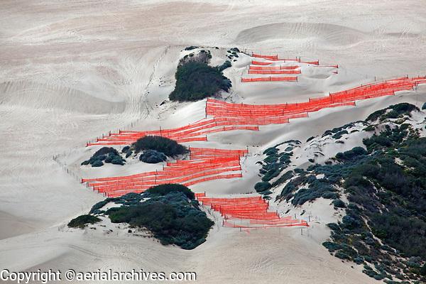 aerial photograph of wind fencing Oceano dunes, San Luis Obispo County, California