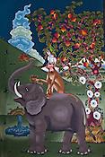 A popular Bhutanese painting symbolizing friendship and harmony seen at the Tashichhodzong (fortress of auspicious religion) in the capital city Thimphu, Bhutan. Photo: Sanjit Das/Panos