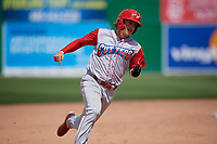 Williamsport Crosscutters Bryson Stott (15) running the bases during a NY-Penn League game against the Batavia Muckdogs on August 27, 2019 at Dwyer Stadium in Batavia, New York.  Williamsport defeated Batavia 11-4.  (Mike Janes/Four Seam Images)