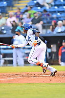 Asheville Tourists Freudis Nova (7) swings at a pitch during a game against the Bowling Green Hot Rods on May 25, 2021 at McCormick Field in Asheville, NC. (Tony Farlow/Four Seam Images)