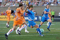 Jennifer Nobis (19) of the Boston Breakers shoots and scores in stoppage time at the end of the game. Sky Blue FC defeated the Boston Breakers 2-1 during a WPS regular season match at Harvard Stadium in Boston, MA, on July 12, 2009.