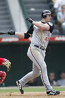 Adam Dunn of the Cincinnati Reds bats during a 2002 MLB season game against the Los Angeles Angels at Angel Stadium, in Anaheim, California. (Larry Goren/Four Seam Images)