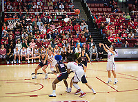 STANFORD, CA - March 17, 2018: Marta Sniezek, Alanna Smith, Nadia Fingall at Maples Pavilion. The Stanford Cardinal defeated the Gonzaga Bulldogs 82-68 to advance to the second round of the NCAA tournament.