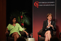 (Left to right) Dominique Anglade, Isabelle Courville, Madeleine Chenette, Marie-Line Beauchamps, Isabelle Hudon participate in a  panel about Leadership hosted by the Canadian Club of Montreal.<br /> <br /> IN PHOTO : Dominique Anglade (L) and Isabelle Courville (R) <br /> <br /> Photo : Agence Quebec Presse - Pierre Roussel