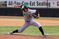 Clinton LumberKings pitcher Collin Kober (27) delivers a pitch during a Midwest League game against the Wisconsin Timber Rattlers on April 26, 2018 at Fox Cities Stadium in Appleton, Wisconsin. Clinton defeated Wisconsin 7-3. (Brad Krause/Four Seam Images)