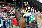 Pacific Ocean (no. 5), ridden by Joel Rosario and trained by Richard Dutrow Jr., wins the th running of the grade 3 James Marvin Stakes for three year olds and upward on July 20, 2012 at Saratoga Race Track in Saratoga Springs, New York.  (Bob Mayberger/Eclipse Sportswire)