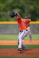 Baltimore Orioles pitcher Clayton McGinness (64) during a Minor League Spring Training game against the Tampa Bay Rays on April 23, 2021 at Charlotte Sports Park in Port Charlotte, Florida.  (Mike Janes/Four Seam Images)