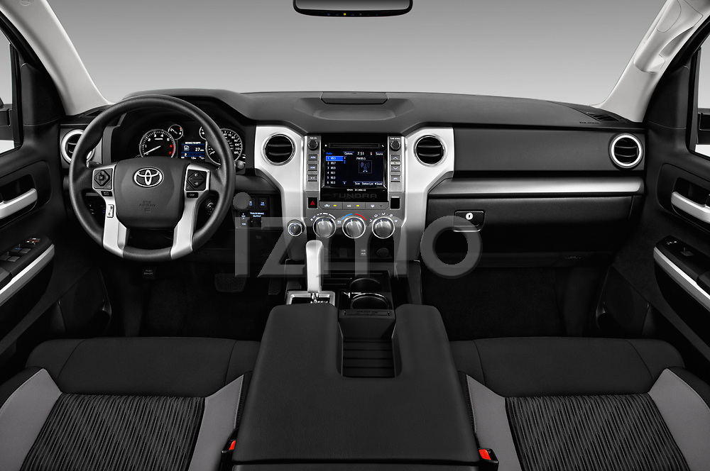 Stock photo of straight dashboard view of 2017 Toyota Tundra TRD-Pro-4WD-Crew-Max-Short-Bed 4 Door Pickup Dashboard