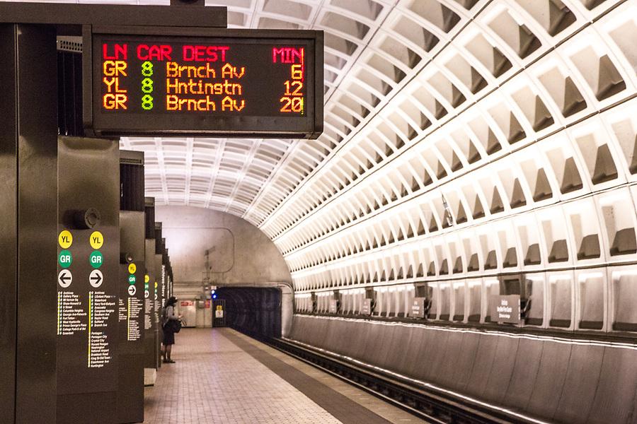 Washington DC Metro System Platform during Coronavirus Socially Distancing Pandemic.