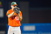 Miami Hurricanes starting pitcher Eric Whaley #52 looks to his catcher for the sign against the Wake Forest Demon Deacons at NewBridge Bank Park on May 25, 2012 in Winston-Salem, North Carolina.  The Hurricanes defeated the Demon Deacons 6-3.  (Brian Westerholt/Four Seam Images)