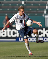 Jimmy Conrad traps the ball. The USA defeated Denmark 3-1 in an International friendly at the Home Depot Center in Carson, CA on January 20, 2007.
