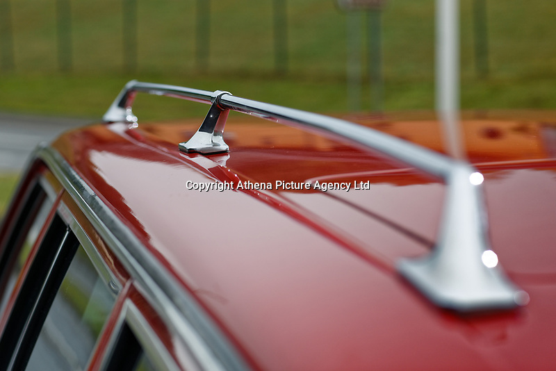 The roof rails of the Mercedes W123 series 230TE estate version, outside the Penderyn Whisky Distillery in south Wales, UK. Tuesday 19 June 2018