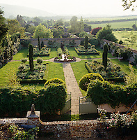 View from an upstairs window over the formal walled garden and the surrounding fields