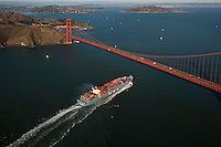 aerial photograph MOL container ship approaching Golden Gate bridge, San Francisco, California