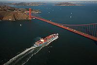 aerial photograph MOL container ship approaching Golden Gate bridge, San Francisco, California
