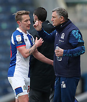 16th April 2021; Ewood Park, Blackburn, Lancashire, England; English Football League Championship Football, Blackburn Rovers versus Derby County; Blackburn Rovers manager Tony Mowbray pats Lewis Holtby of Blackburn Rovers on the back as he is substituted during the second half