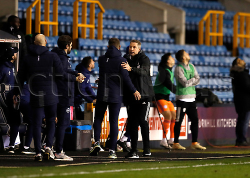21st November 2020; The Den, Bermondsey, London, England; English Championship Football, Millwall Football Club versus Cardiff City; Cardiff City manager Neil Harris approaches Millwall Manager Gary Rowett after full time