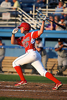 Batavia Muckdogs designated hitter Danny Stienstra #18 during a game against the Staten Island Yankees at Dwyer Stadium on July 30, 2012 in Batavia, New York.  Batavia defeated Staten Island 5-4 in 11 innings.  (Mike Janes/Four Seam Images)