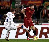 Calcio, Serie A: AS Roma - Atalanta, Roma, stadio Olimpico, 6 gennaio 2018.<br /> AS Roma's Aleksandar Kolarov (r) in action with Atalanta's Hans Hateboer (l) during the Italian Serie A football match between AS Roma and Atalanta at Rome's Olympic stadium, January 6 2018.<br /> UPDATE IMAGES PRESS/Isabella Bonotto