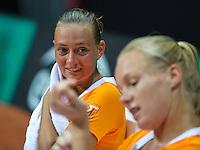 2016, 12 April, Arena Loire, Trélazè,  Semifinal FedCup, France-Netherlands,  Dutch players Cindy Burger and Kiki Bertens (foreground)<br /> Photo:Tennisimages/Henk Koster