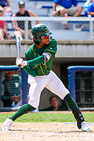 Beloit Snappers outfielder JaVon Shelby (5) swings at a pitch during a Midwest League game against the Quad Cities River Bandits on June 18, 2017 at Pohlman Field in Beloit, Wisconsin.  Quad Cities defeated Beloit 5-3. (Brad Krause/Four Seam Images)