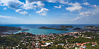 Saint Thomas Charlotte Amalie Bay aerial view, with sailboats and liners on the turquoise sea, in British Virgin Islands, Caribbean Leeward Islands
