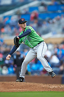 Gwinnett Braves relief pitcher Jason Creasy (58) in action against the Durham Bulls at Durham Bulls Athletic Park on April 20, 2019 in Durham, North Carolina. The Bulls defeated the Braves 11-3 in game one of a double-header. (Brian Westerholt/Four Seam Images)