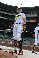 Cal Raleigh (35) of Smoky Mountain High School in Cullowhee, North Carolina during practice before the Under Armour All-American Game on August 16, 2014 at Wrigley Field in Chicago, Illinois.  (Mike Janes/Four Seam Images)