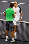 SHANGHAI, CHINA - OCTOBER 18:  Nikolay Davydenko of Russia shakes hand with Rafael Nadal of Spain after winning the final on day eight of 2009 Shanghai ATP Masters 1000 at Qi Zhong Tennis Centre on October 18, 2009 in Shanghai China. Photo by Victor Fraile / The Power of Sport Images