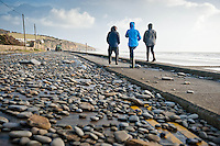 Friday 03 January 2014<br /> Pictured: The Road in Amroth, West wales, damaged by the sea during a mix high tides and stormy weather.<br /> Re: Storm force winds and some of the highest tides in decades hit Wales early on Friday.