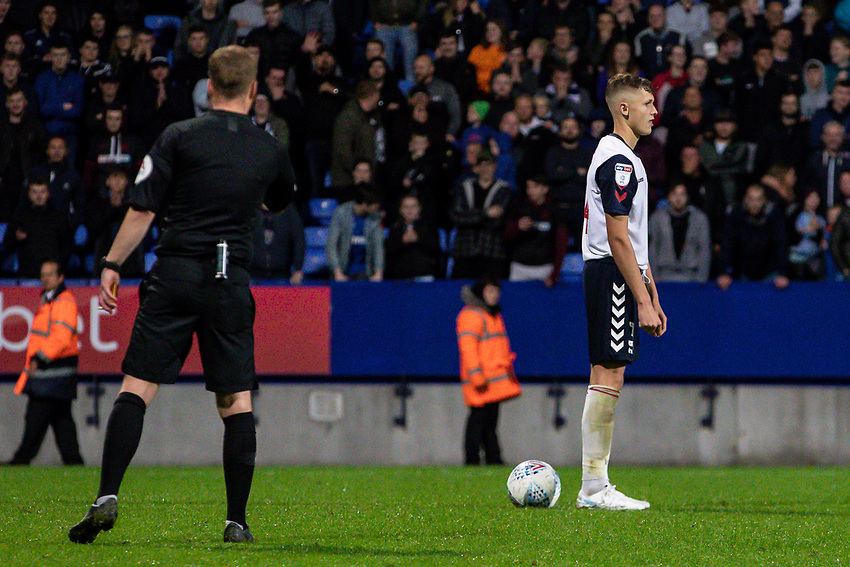 Bolton Wanderers' Adam Senior prepares to take a penalty which he subsequently missed<br /> <br /> Photographer Andrew Kearns/CameraSport<br /> <br /> EFL Leasing.com Trophy - Northern Section - Group F - Bolton Wanderers v Bradford City -  Tuesday 3rd September 2019 - University of Bolton Stadium - Bolton<br />  <br /> World Copyright © 2018 CameraSport. All rights reserved. 43 Linden Ave. Countesthorpe. Leicester. England. LE8 5PG - Tel: +44 (0) 116 277 4147 - admin@camerasport.com - www.camerasport.com
