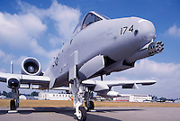 US Air Force Fairchild Republic A-10 Thunderbolt II Military Aircraft on Static Display - at Abbotsford International Airshow, BC, British Columbia, Canada