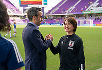 ORLANDO, FL - MARCH 05: Jorge Vilda of Spain shakes hands with Asako Takakura of Japan during a game between Spain and Japan at Exploria Stadium on March 05, 2020 in Orlando, Florida.
