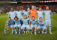Sporting KC lines up before the game at RFK Stadium in Washington, DC.  Sporting KC defeated D.C. United, 1-0.
