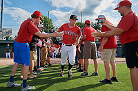 Batavia Muckdogs starting pitcher Andrew Miller (8) takes the field before a NY-Penn League game against the Williamsport Crosscutters on August 25, 2019 at Dwyer Stadium in Batavia, New York.  Williamsport defeated Batavia 10-3.  (Mike Janes/Four Seam Images)