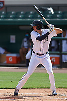 Detroit Tigers Parker Meadows (17) bats during a Florida Instructional League game against the Toronto Blue Jays on October 19, 2020 at Joker Marchant Stadium in Lakeland, Florida.  (Mike Janes/Four Seam Images)