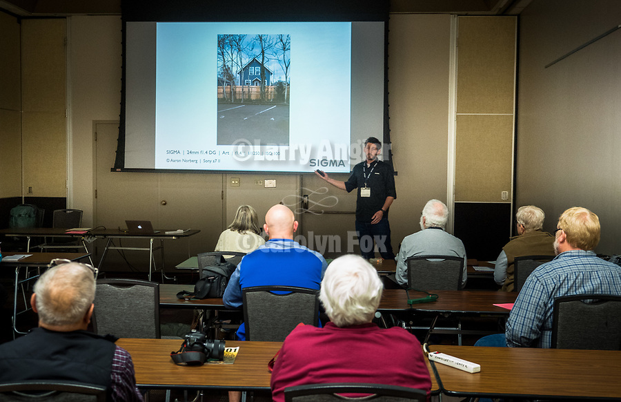 Sigma's Aaron Norberg discusses landscape photography at STW XXXI, Winnemucca, Nevada, April 11, 2019.<br /> .<br /> .<br /> .<br /> .<br /> @shootingthewest, @winnemuccanevada, #ShootingTheWest, @winnemuccaconventioncenter, #WinnemuccaNevada, #STWXXXI, #NevadaPhotographyExperience, #WCVA