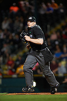 Umpire Dave Attridge during a game between the Fort Myers Miracle and Bradenton Marauders on April 9, 2016 at McKechnie Field in Bradenton, Florida.  Fort Myers defeated Bradenton 5-1.  (Mike Janes/Four Seam Images)