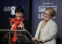 La directrice du MBAM, Nathalie Bondil<br /> et Pauline Marois<br /> au <br /> 13 ieme Gala Phenicia , 25 mai 2017<br /> <br /> PHOTO :  Agence Québec Presse