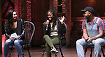 """Lauren Boyd, Johanna Moise and Deon'te Goodman during the Q & A before The Rockefeller Foundation and The Gilder Lehrman Institute of American History sponsored High School student #EduHam matinee performance of """"Hamilton"""" at the Richard Rodgers Theatre on 4/03/2019 in New York City."""