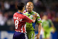 Seattle Sounders midfielder Freddie Ljundberg screams at Chivas USA defender Mariano Trujillo. Chivas USA defeated the Seattle Sounders 1-0 at Home Depot Center stadium in Carson, California on Saturday evening June 6, 2009.   .