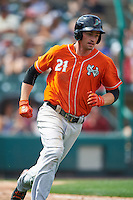 Norfolk Tides first baseman Trey Mancini (21) runs to first base during a game against the Rochester Red Wings on July 17, 2016 at Frontier Field in Rochester, New York.  Rochester defeated Norfolk 3-2.  (Mike Janes/Four Seam Images)