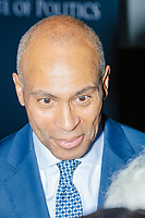 Democratic presidential candidate and former Massachusetts governor Deval Patrick greets people after speaking at Politics & Eggs at the New Hampshire Institute of Politics at Saint Anselm College in Manchester, New Hampshire, on Mon., November 25, 2019. Patrick is one of the latest entrants to the already crowded Democratic primary field, having only declared his candidacy the week before in mid-Nov. 2019.