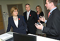 Daniel Beckett, Consultant Acute Physician NHS Forth Valley, and Chairman Ian Mullen show Nicola Sturgeon MSP, Deputy First Minister and Cabinet Secretary for Health, Wellbeing and Cities Strategy, around Forth Valley Royal Hospital's Acute Assessment Unit.