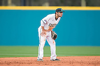 Coastal Carolina Chanticleers shortstop Michael Paez (1) on defense against the Bryant Bulldogs at Springs Brooks Stadium on March 13, 2015 in Charlotte, North Carolina.  The Chanticleers defeated the Bulldogs 7-2.  (Brian Westerholt/Four Seam Images)