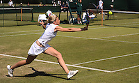 Lisa Whybourn of Great Britain on her way to a 3rd qualifying round loss to Andrea Hlavackova of the Czech Republic