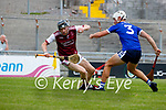 Colum Harty, Causeway, in action against Killian Wolff, St. Brendans, during the County Senior hurling Semi-Final between St. Brendans and Causeway at Austin Stack park on Sunday.